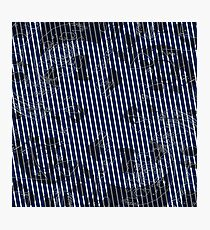 White stripes on blue texture background Photographic Print