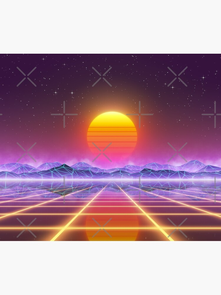 80's retro sun in synthwave landscape (Blue/Purple/Yellow) by GaiaDC