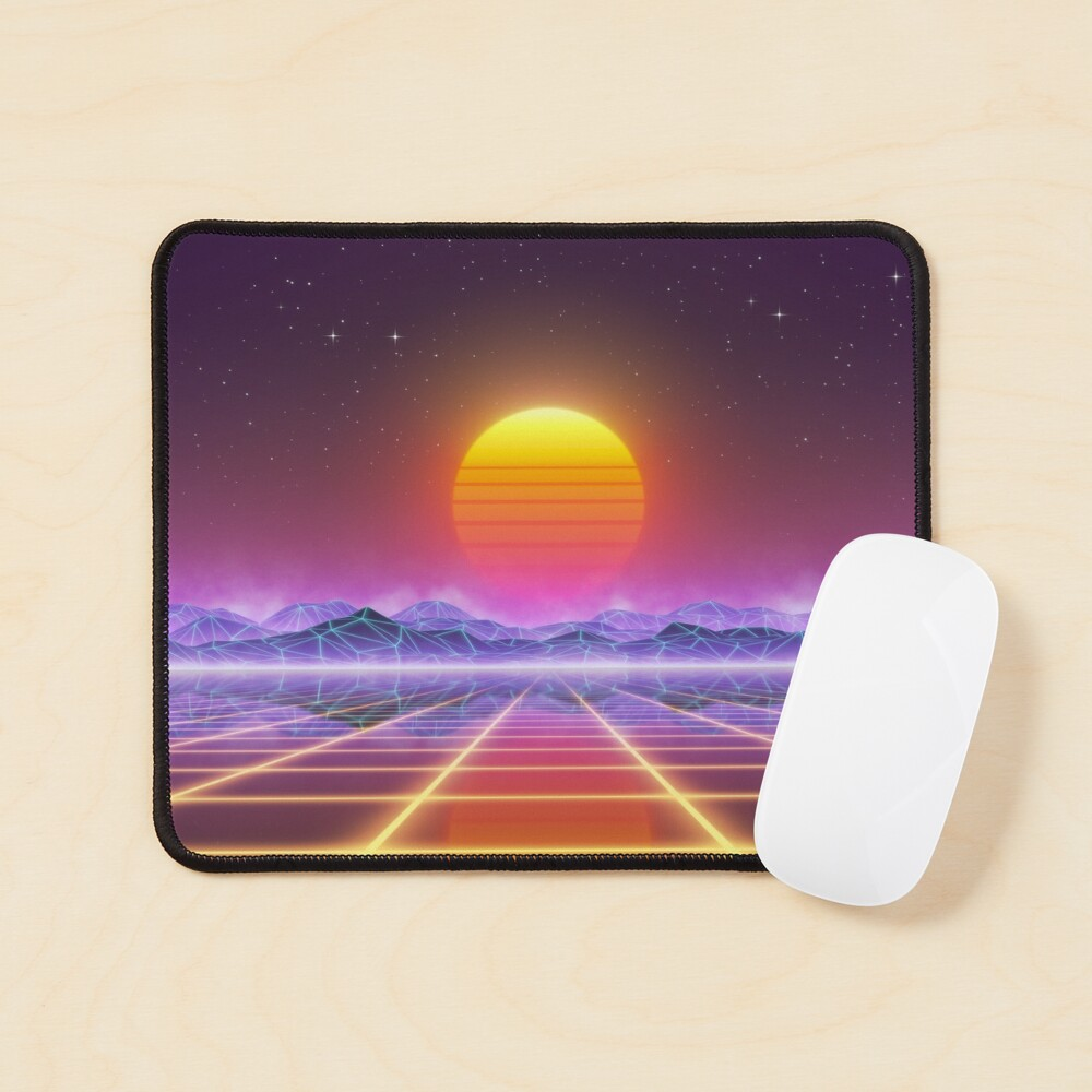 80's retro sun in synthwave landscape (Blue/Purple/Yellow) Mouse Pad
