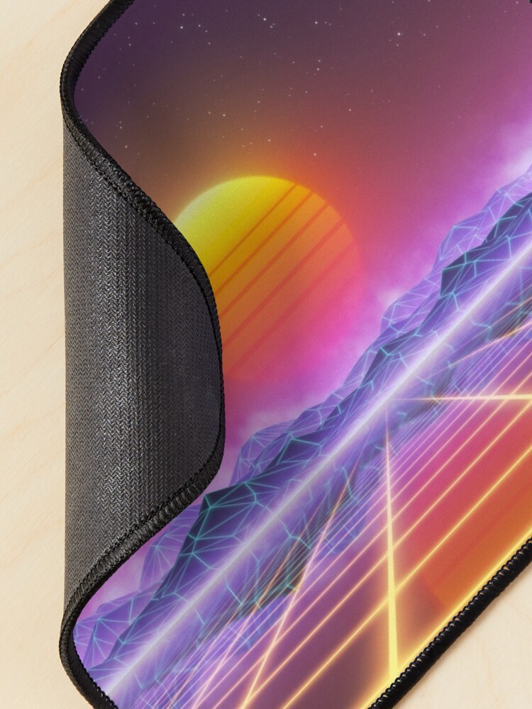 Alternate view of 80's retro sun in synthwave landscape (Blue/Purple/Yellow) Mouse Pad