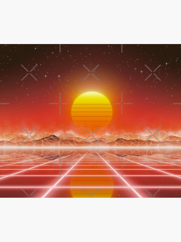 80's retro sun in synthwave landscape (Red) by GaiaDC