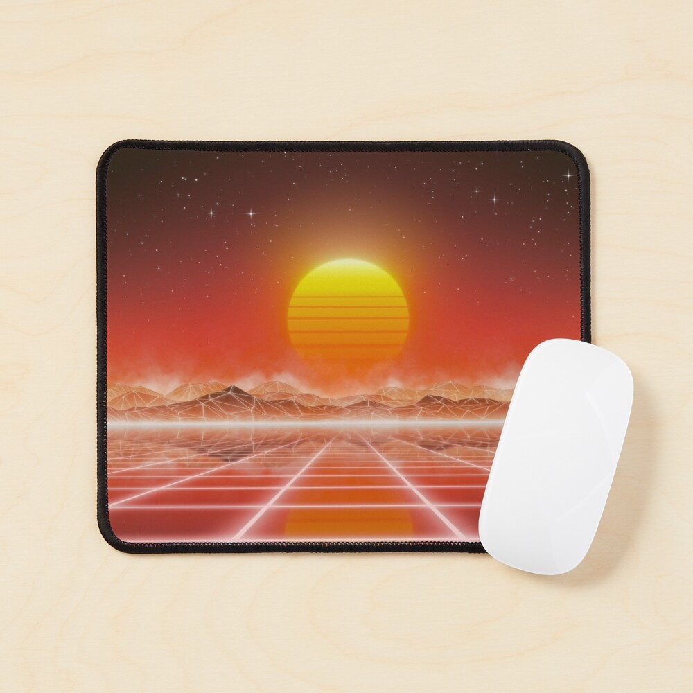 80's retro sun in synthwave landscape (Red) Mouse Pad