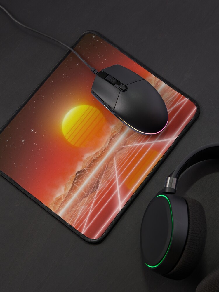Alternate view of 80's retro sun in synthwave landscape (Red) Mouse Pad