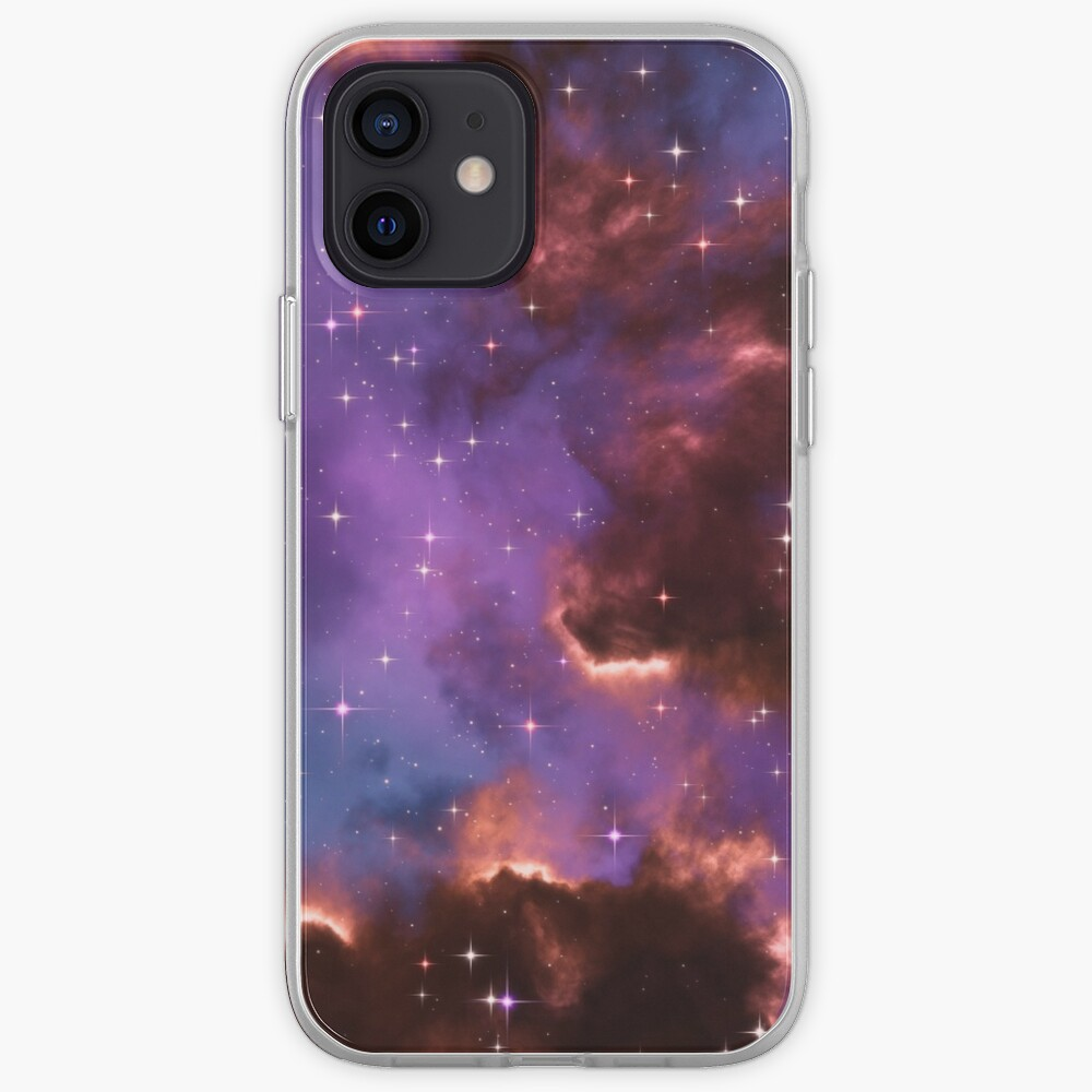 Fantasy nebula cosmos sky in space with stars (Red/Purple/Blue) iPhone Case