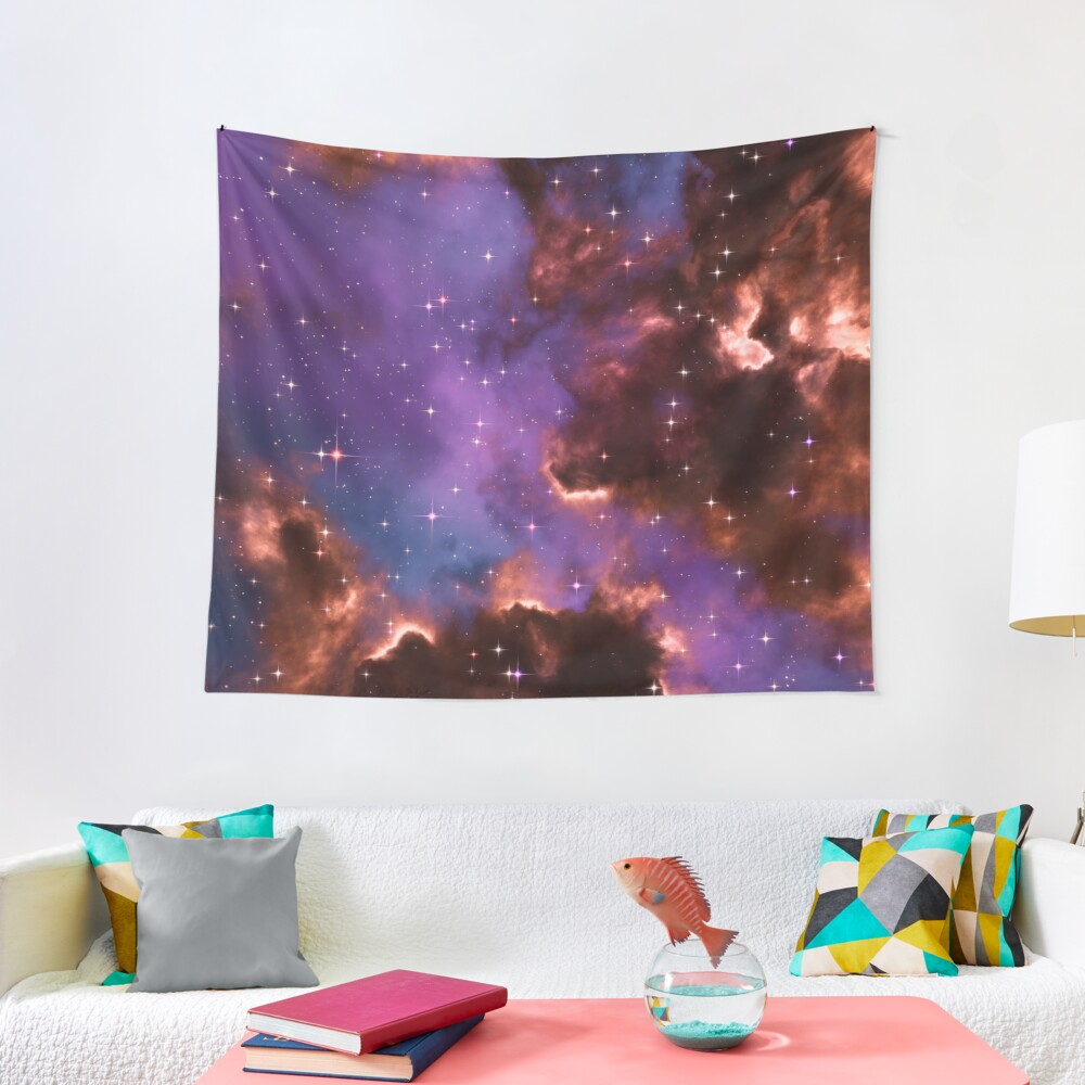 Fantasy nebula cosmos sky in space with stars (Red/Purple/Blue) Tapestry