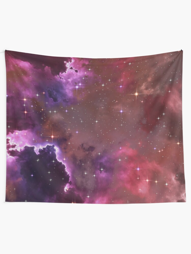 Alternate view of Fantasy nebula cosmos sky in space with stars (Purple/Pink/Magenta) Tapestry