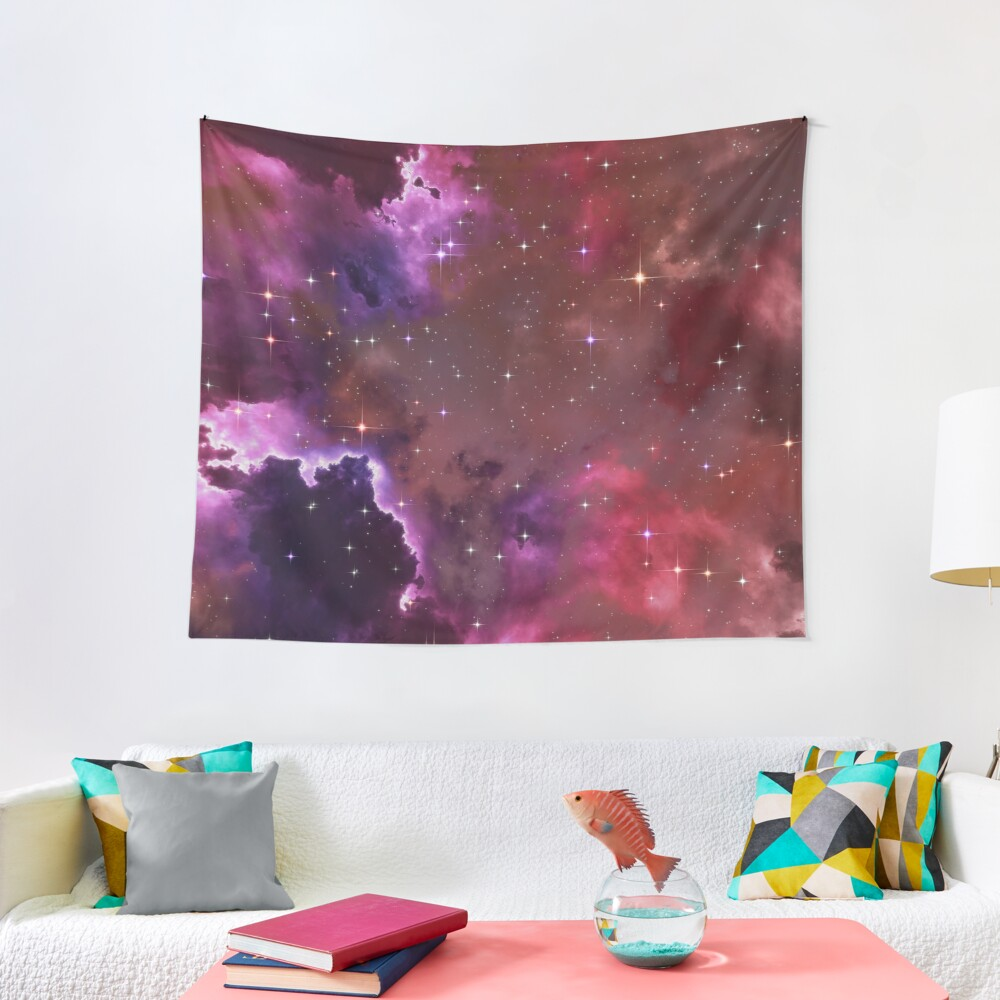 Fantasy nebula cosmos sky in space with stars (Purple/Pink/Magenta) Tapestry