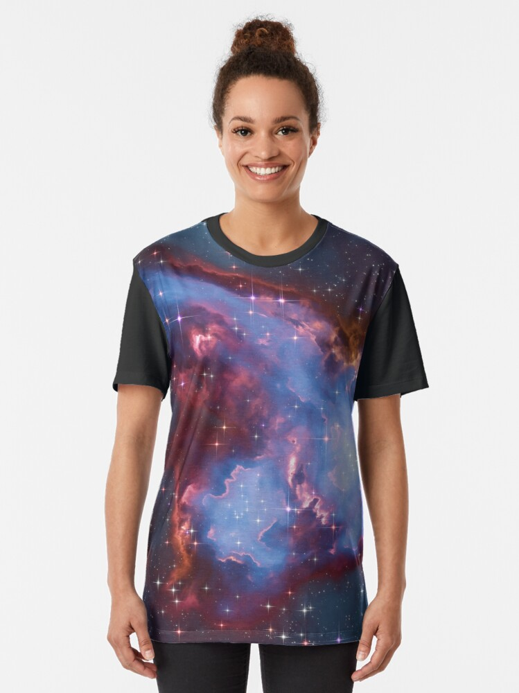 Alternate view of Fantasy nebula cosmos sky in space with stars (Blue) Graphic T-Shirt