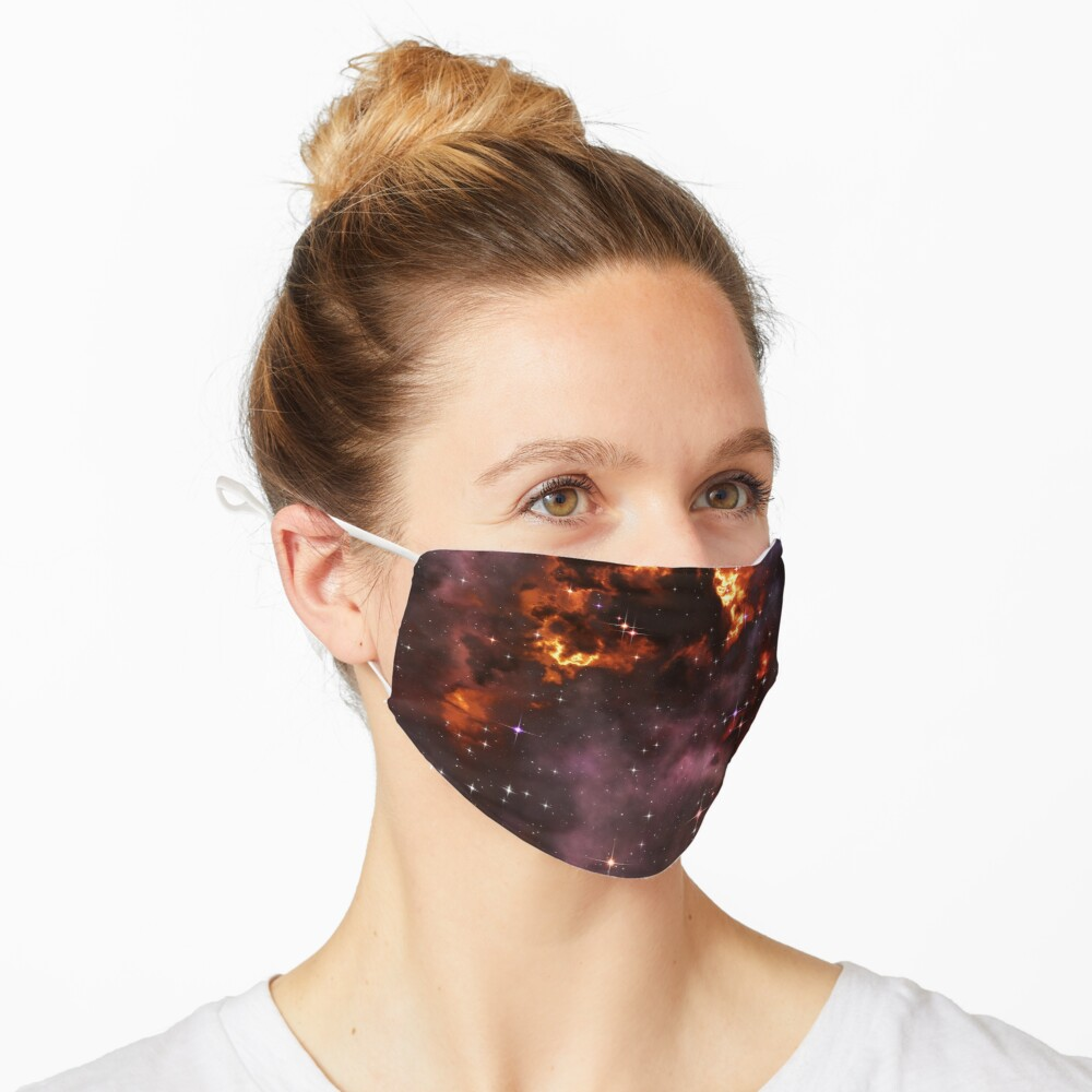 Fantasy nebula cosmos sky in space with stars (Purple/Yellow/Orange/Red) Mask