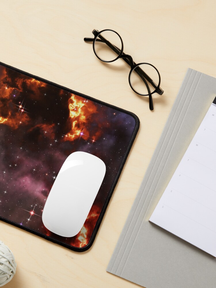 Alternate view of Fantasy nebula cosmos sky in space with stars (Purple/Yellow/Orange/Red) Mouse Pad