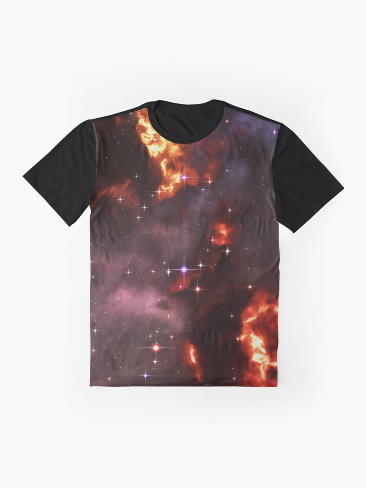 Alternate view of Fantasy nebula cosmos sky in space with stars (Purple/Yellow/Orange/Red) Graphic T-Shirt