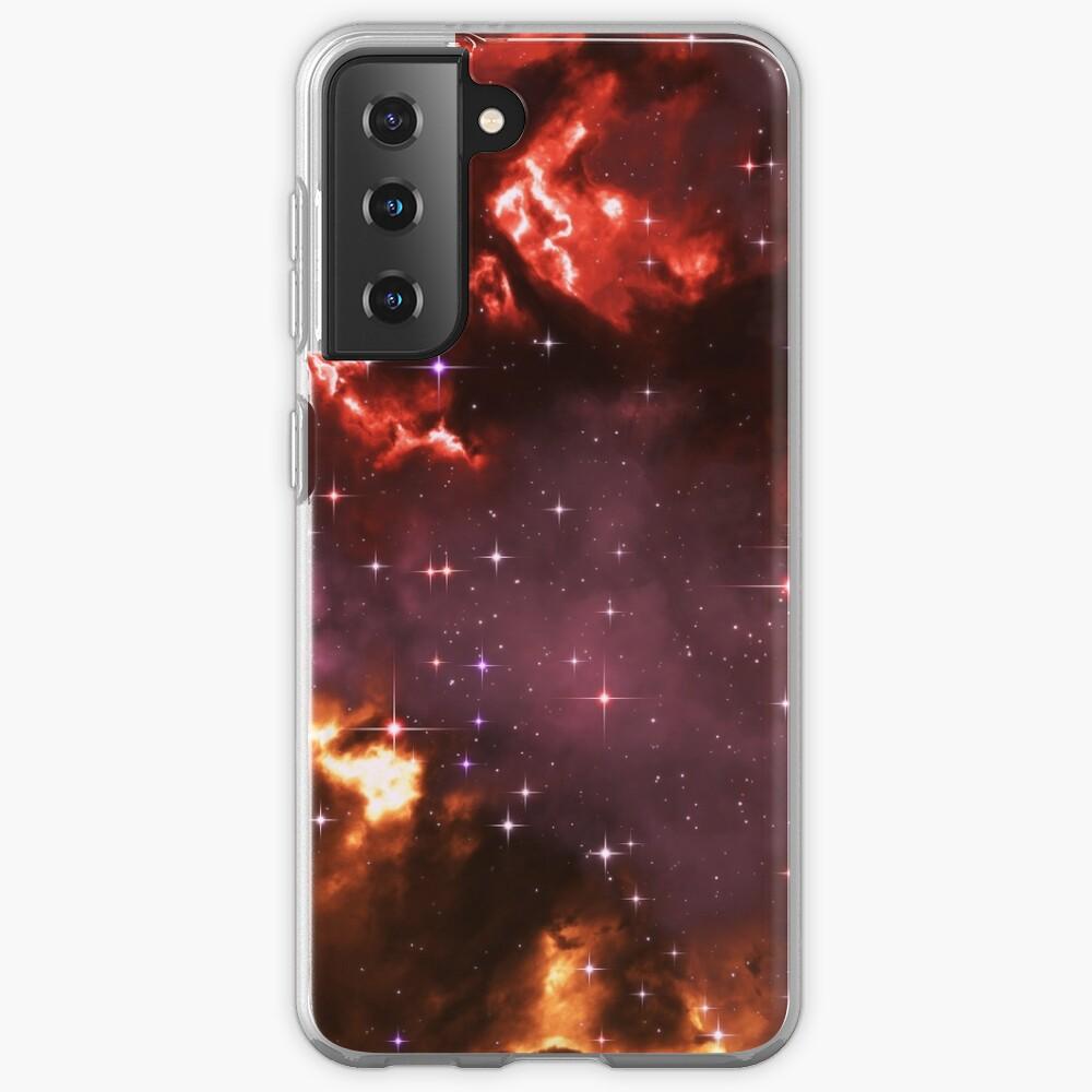 Fantasy nebula cosmos sky in space with stars (Purple/Yellow/Orange/Red/Magenta) Samsung Galaxy Phone Case