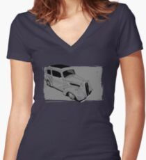 Ford Anglia Hot Rod Women's Fitted V-Neck T-Shirt