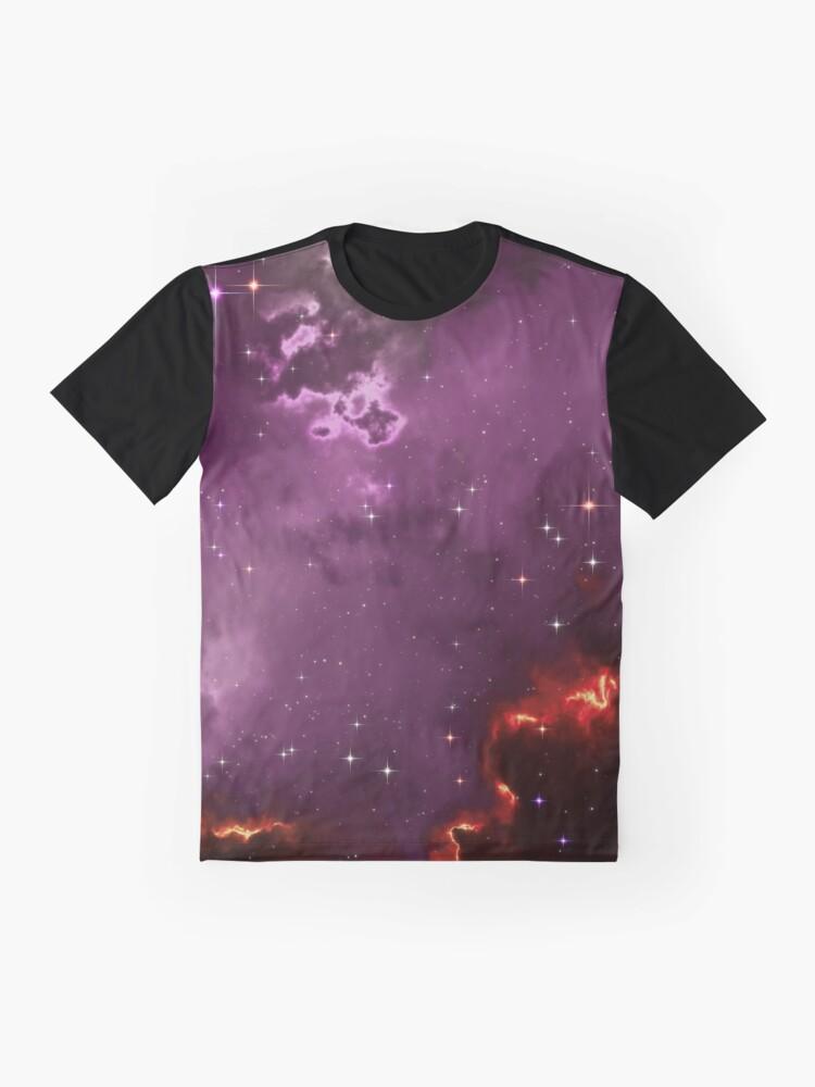 Alternate view of Fantasy nebula cosmos sky in space with stars (Purple/Yellow/Orange/Red/Magenta) Graphic T-Shirt