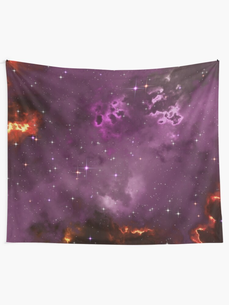 Alternate view of Fantasy nebula cosmos sky in space with stars (Purple/Yellow/Orange/Red/Magenta) Tapestry