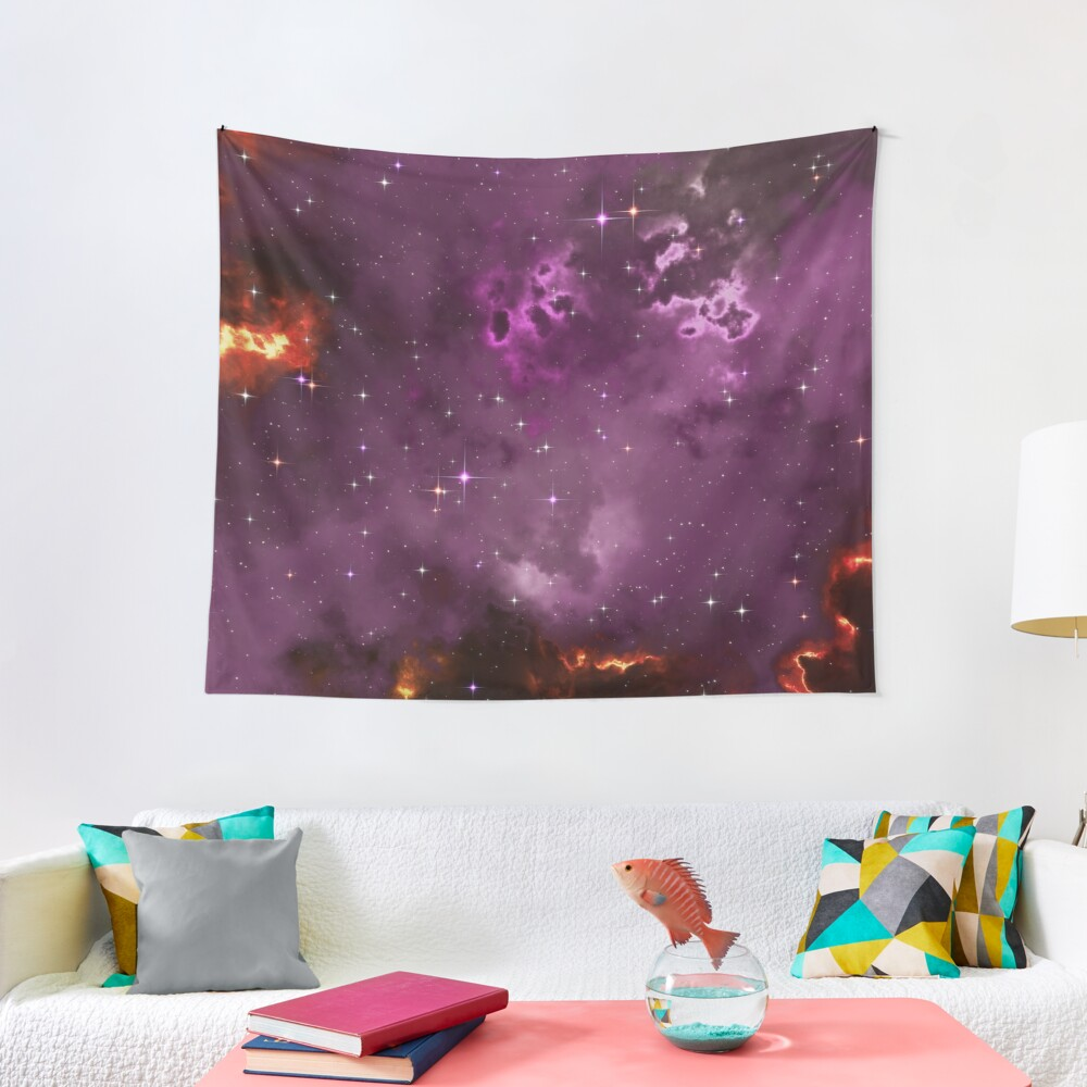 Fantasy nebula cosmos sky in space with stars (Purple/Yellow/Orange/Red/Magenta) Tapestry