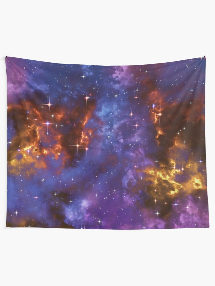 Alternate view of Fantasy nebula cosmos sky in space with stars (Blue/Purple/Red/Yellow) Tapestry