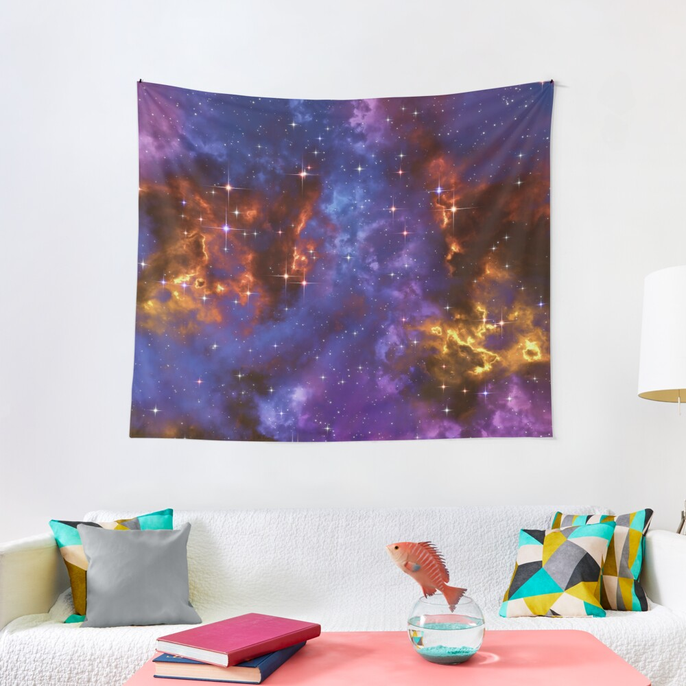 Fantasy nebula cosmos sky in space with stars (Blue/Purple/Red/Yellow) Tapestry