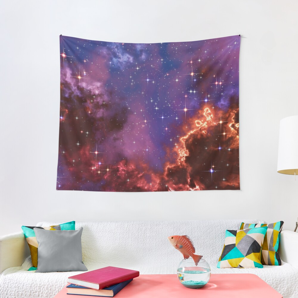 Fantasy nebula cosmos sky in space with stars (Blue/Purple/Red/Yellow/Pink) Tapestry