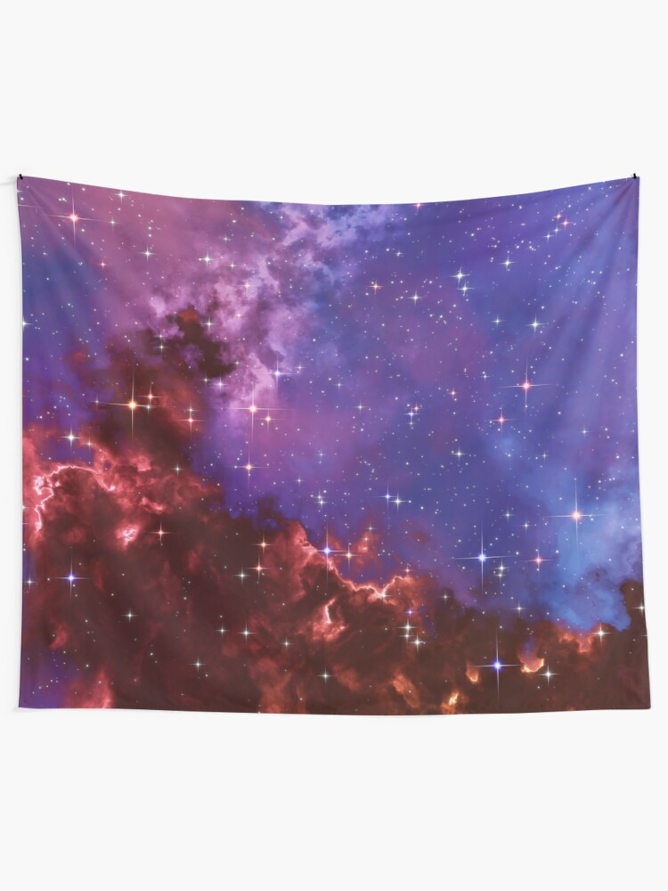 Alternate view of Fantasy nebula cosmos sky in space with stars (Blue/Purple/Red/Yellow/Pink) Tapestry