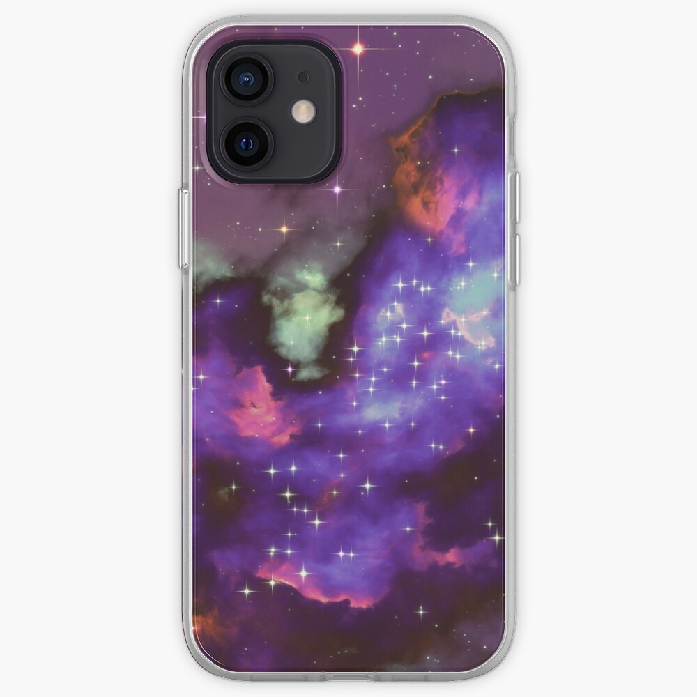 Fantasy nebula cosmos sky in space with stars (Purple/Cyan/Blue/Pink/Magenta) iPhone Case