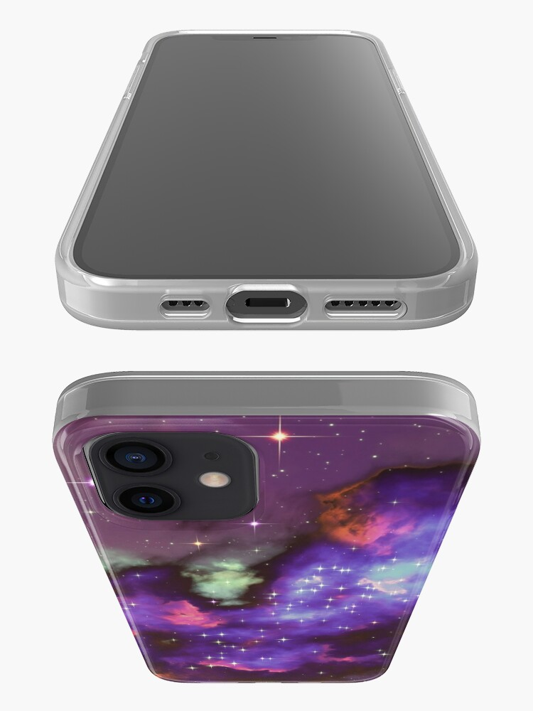 Alternate view of Fantasy nebula cosmos sky in space with stars (Purple/Cyan/Blue/Pink/Magenta) iPhone Case