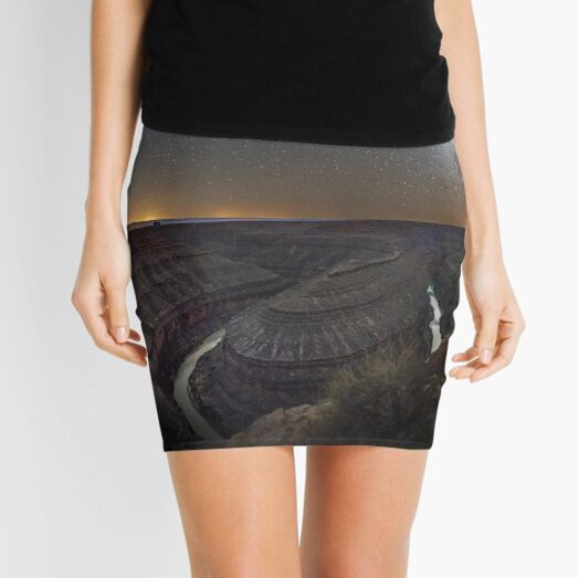 Brown And Gray Mountains Under Blue Sky During Night Time Mini Skirt