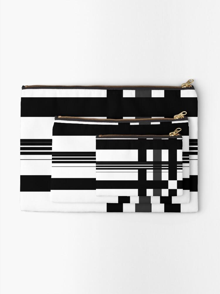 Alternate view of Black n' White plaid Zipper Pouch