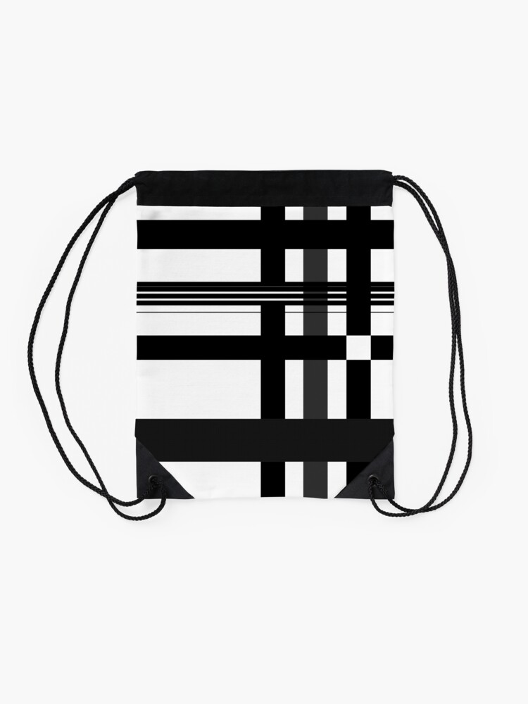 Alternate view of Black n' White plaid Drawstring Bag