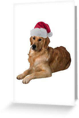 Golden Retriever Santa Claus Merry Christmas by CafePretzel