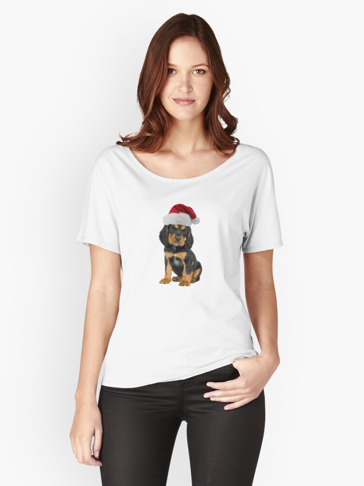 Gordon Setter Puppy Santa Claus Merry Christmas Women's Relaxed Fit T-Shirt Front