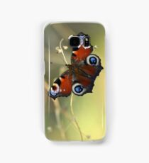 Peacock butterfly on a dried flower Samsung Galaxy Case/Skin