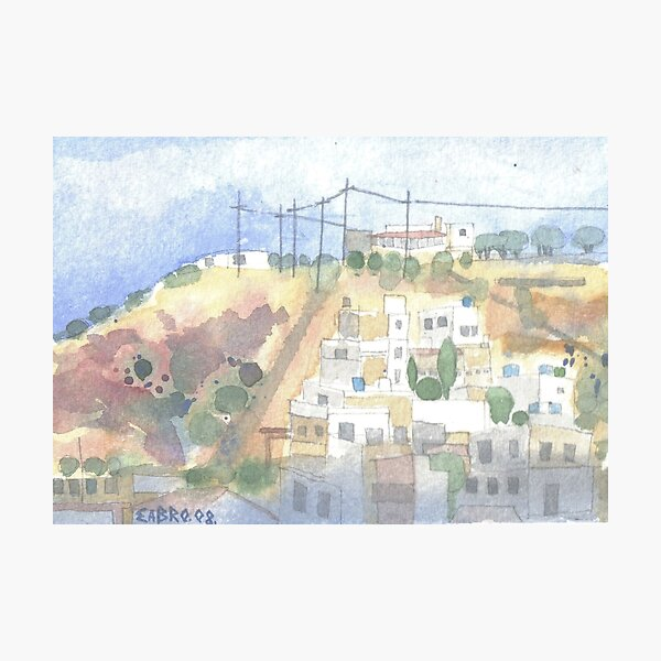 32. White Houses, Telegraph Poles & Turquoise Water Butts, Crete 32 - 2008 Photographic Print