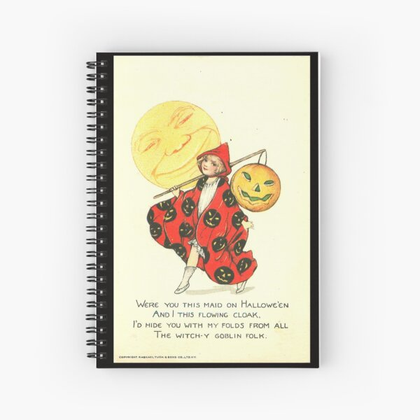 Vintage Halloween Card from Tuck Postcards (1908) - Girl Trick or Treater Spiral Notebook