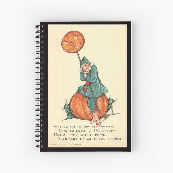 Vintage Halloween Card from Tuck Postcards (1908) - Girl with Sprites on Pumpkin Spiral Notebook