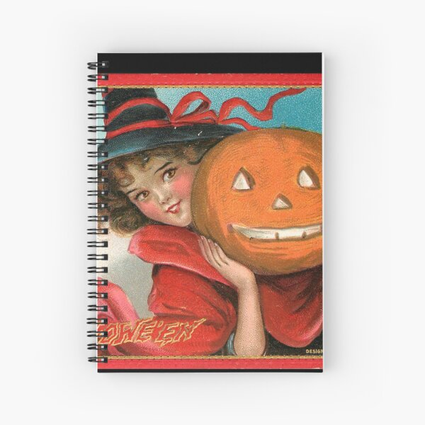 Vintage Halloween Card from Tuck Postcards (1908) - Witch with Jack-o-lantern Spiral Notebook
