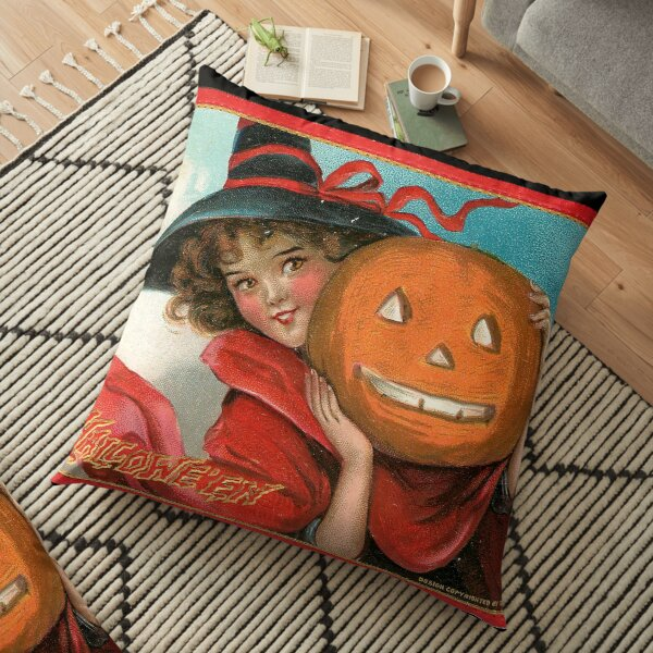 Vintage Halloween Card from Tuck Postcards (1908) - Witch with Jack-o-lantern Floor Pillow