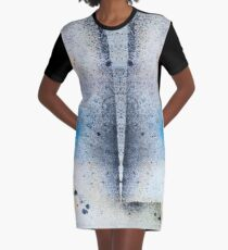 Abstract Unique Graphic ink design in blue and gold Graphic T-Shirt Dress