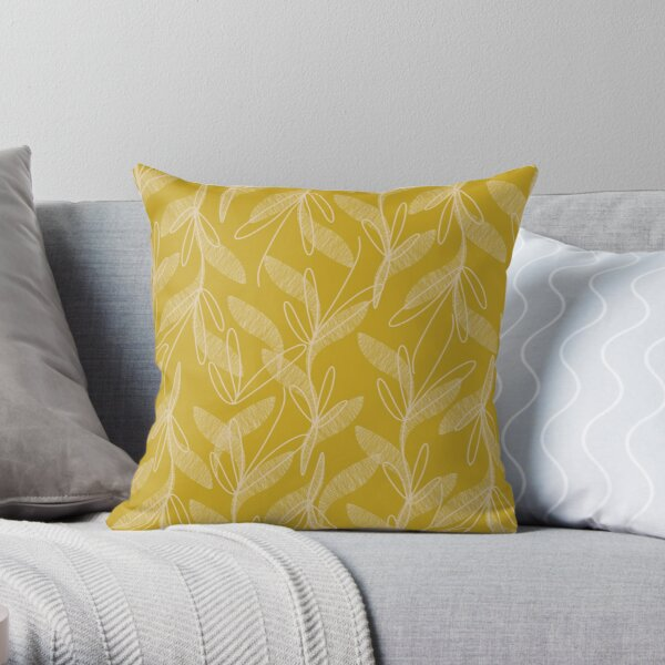 Mid Century Modern Botanical Pattern in Mid Mod Mustard Throw Pillow