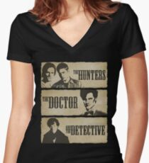 The Hunters, The Doctor and The Detective (Matt Smith version)  Women's Fitted V-Neck T-Shirt