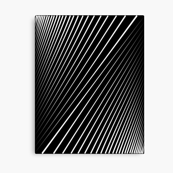 Diagonal Lines White - Line Art Canvas Print