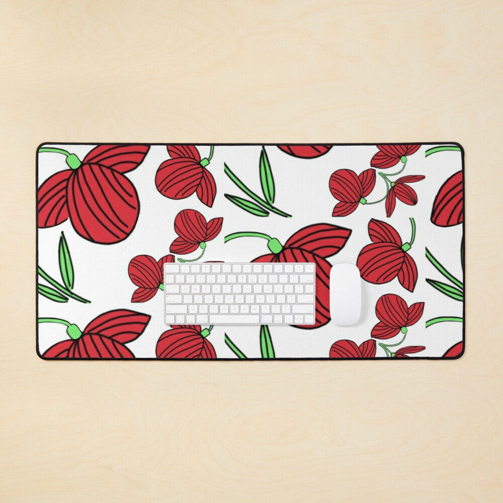 Red flower motif Mouse Pad