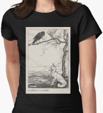 Aesop's Fables art by Arthur Rackham 1913 0026 The Fox and the Crow Women's Fitted T-Shirt