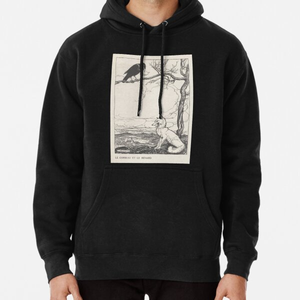 Aesop's Fables art by Arthur Rackham 1913 0026 The Fox and the Crow Pullover Hoodie