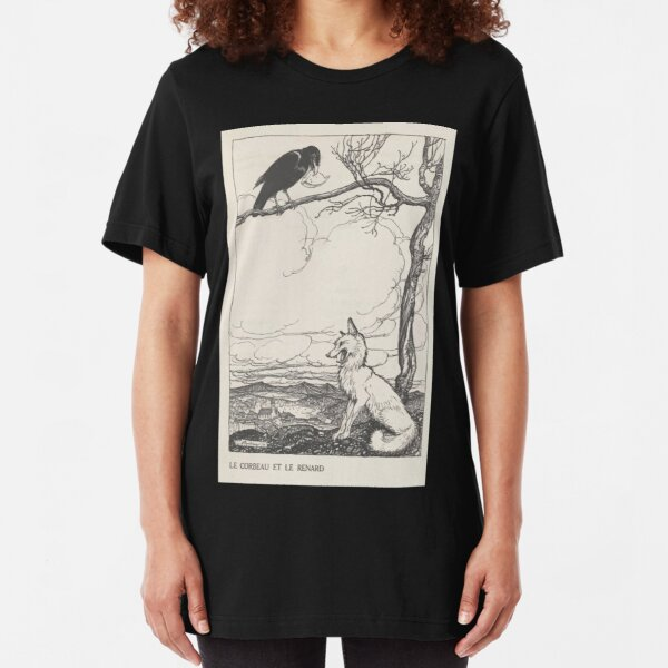Aesop's Fables art by Arthur Rackham 1913 0026 The Fox and the Crow Slim Fit T-Shirt