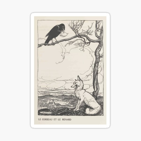 Aesop's Fables art by Arthur Rackham 1913 0026 The Fox and the Crow Sticker