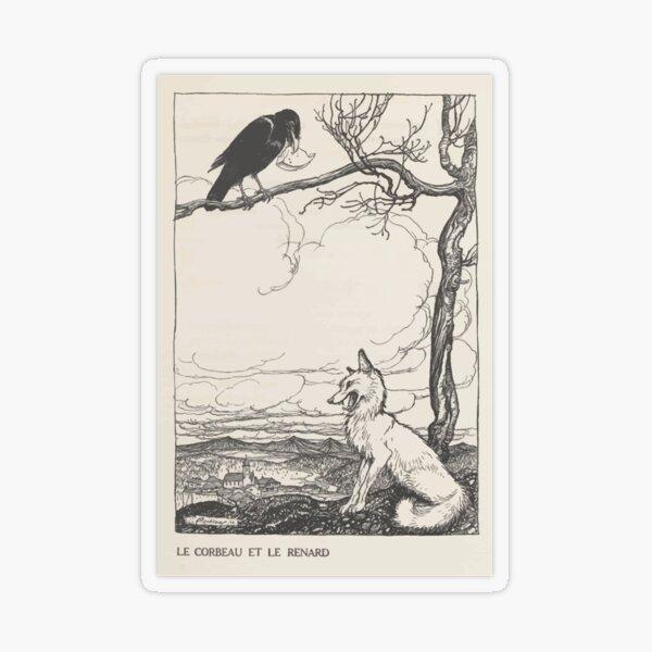 Aesop's Fables art by Arthur Rackham 1913 0026 The Fox and the Crow Transparent Sticker