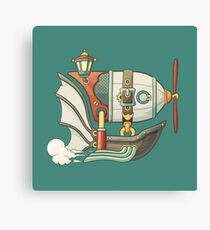 Cartoon steampunk styled flying airship with baloon and propeller Canvas Print