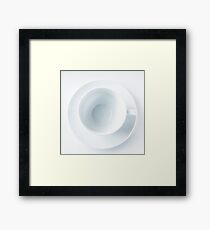 Empty white coffee cup on white background Framed Print
