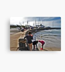Orange Cup , children playing Mothers beach Mornington VIC AUS  Canvas Print